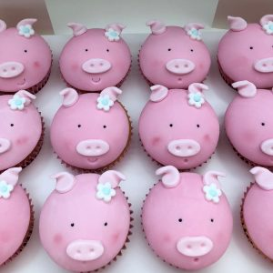 fondant pig cupcakes, pig cupcakes